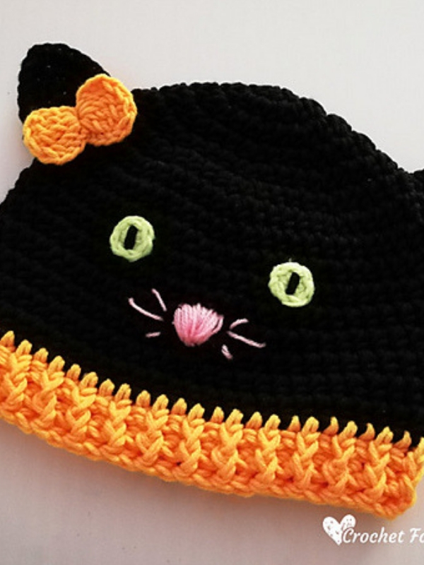 Photo of Halloween Black Cat Hat Free Crochet Pattern