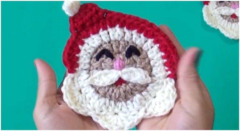 Learn To Crochet Santa Face Applique Stricken Wolle