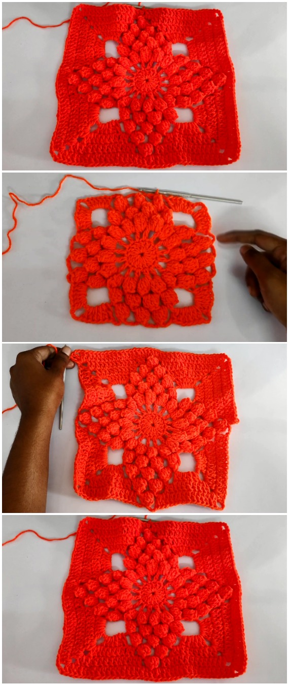 Crochet Easy Popcorn Stitch Granny Square