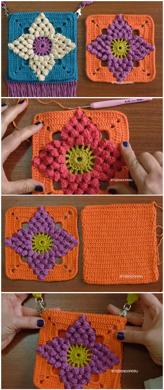 Crochet Saddle Bag Granny Square Popcorn Flower