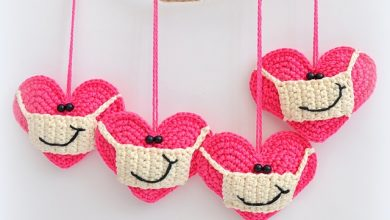Photo of Crochet Heart with a Facemask and Smile