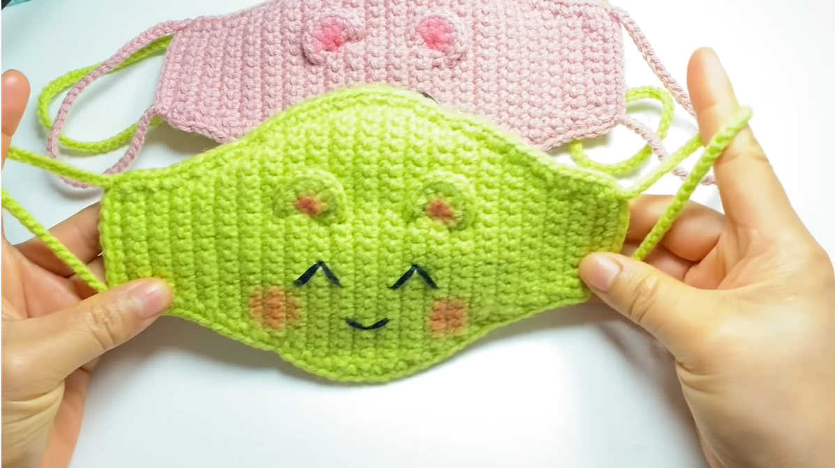 Crochet Cute Face Mask-With Filter