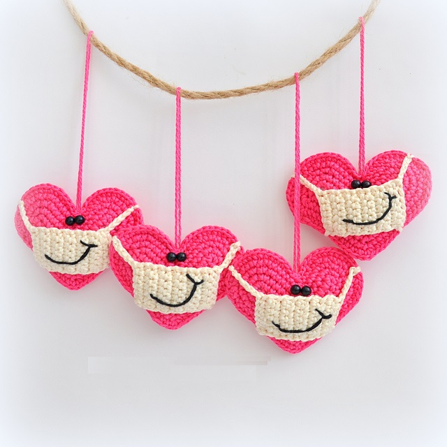 Crochet Heart with a Facemask and Smile
