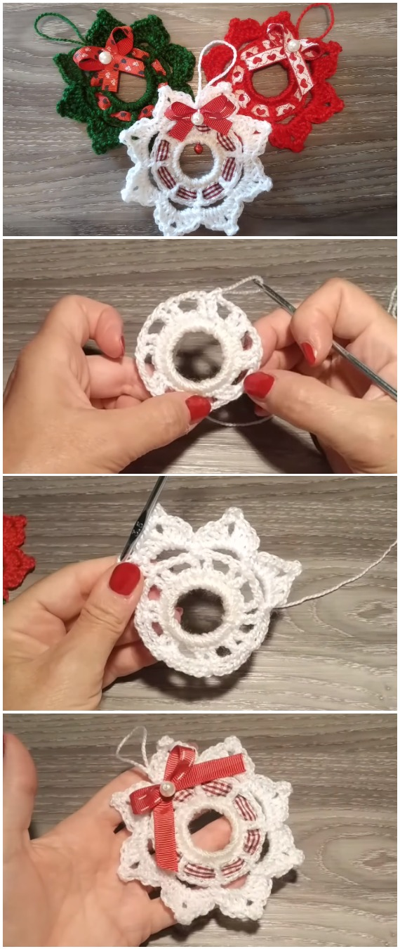 Learn To Crochet Wreath Christmas Ornament